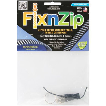 FixnZip Nickel Replacement Zipper for Sewing, Medium 030184