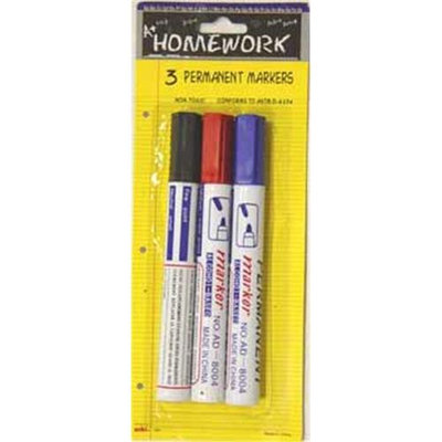 Ddi Permanent Markers - 3 pack - black, red, blue(Case of 48)