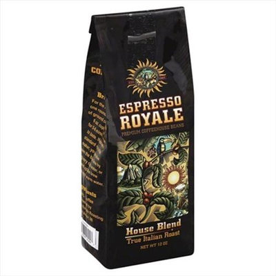 Espresso 12 oz. House Blend True Italian Roast Coffee Beans - Case Of 6