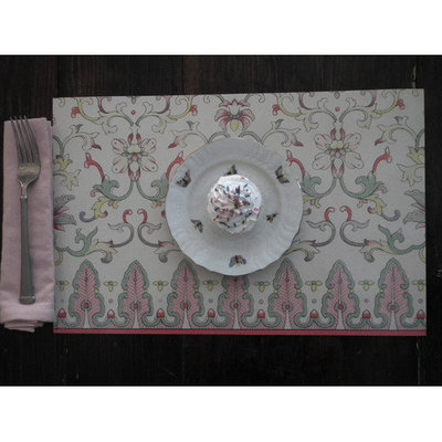 Belle Banquet Champagne Stain-Resistant Reusable Paper Placemats (Set of 6)