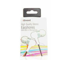 iBoost EPM4420WH Earphones With Built In Microphone & Metal Earplugs White