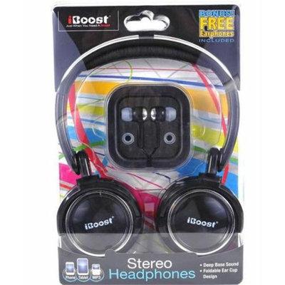 iBoost HEP430BK Stereo Headphones With Crisp Clean Sound Black