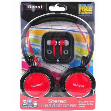 iBoost HEP430RD Stereo Headphones With Crisp Clean Sound Red