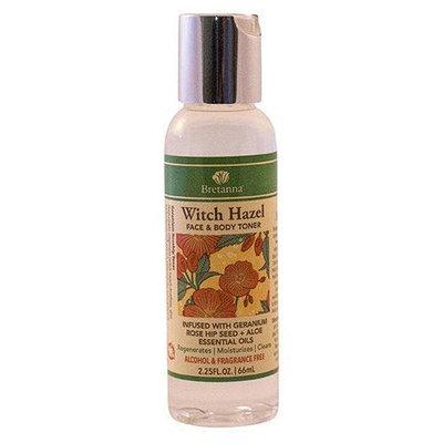 Bretanna - Witch Hazel Face & Body Toner Infused with Geranium Rose Hip Seed Aloe Essential Oil - 2.25 oz.
