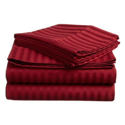 Home City Inc Egyptian Cotton 300 Thread Count Full Sheet Set, Stripe, Plum