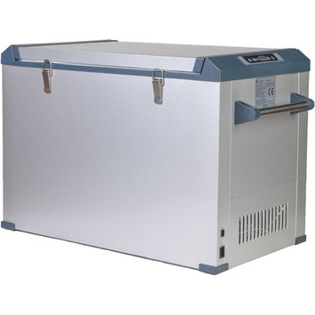 Grape Solar Glacier 2.75 cu. ft. Mini Refrigerator/Freezer in Grey with DC and AC Adapters GS-CF-2.75-Fab1