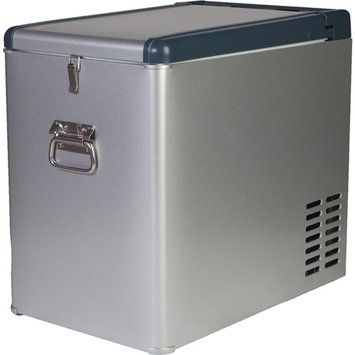 Grape Solar Glacier 1.1 cu. ft. Mini Refrigerator/Freezer in Grey with DC and AC Adapters GS-CF-1.1-Fab1