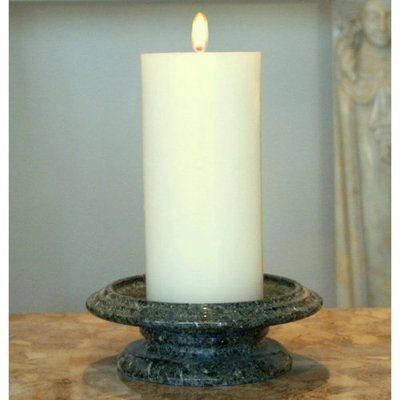 Marble Products International Cameo Marble Tray Candle Holder, Green Zebra