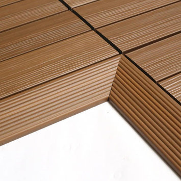 Deck Parts & Accessories: NewTechWood Building Materials Quick Deck 2 in. x 1 ft Composite Deck Tile Inside Corner in Sahara Sand (2-Pieces/box) US-QD-IF-ZX-SD