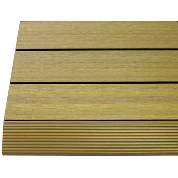 Deck Parts & Accessories: NewTechWood Building Materials Quick Deck 2 in. x 1 ft Composite Deck Tile Straight Trim in California Redwood (4-Pieces/box) US-QD-SF-ZX-RW