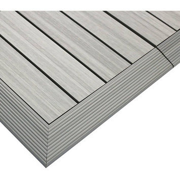 Deck Parts & Accessories: NewTechWood Building Materials Quick Deck 2 in. x 1 ft. Composite Deck Tile Outside Corner Trim in Egyptian Stone Gray (2-Pieces/Box) US-QD-OF-ZX-ST