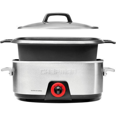 Chefman Slow Cookers 6 qt. Oval Slow Cooker in Black and Silver Metallic Carbon RJ15-6-DC