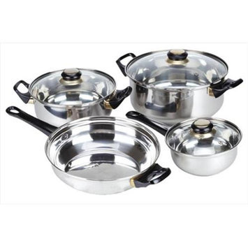 Home Basics CS10348 Cookware Set 7 Pieces Stainless Steel Pack of 4