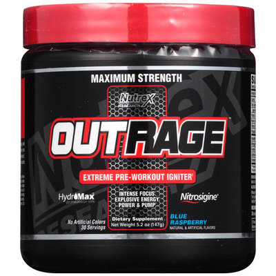 Nutrex Research Outrage Supplement, Blue Raspberry, 147 Gram