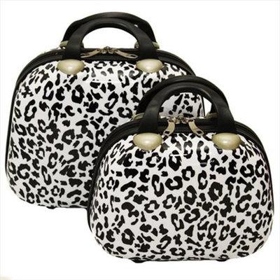 Dejuno BC-12P-B-WLEOPARD Leopard Print 2-Piece Cosmetic Case Set White Leopard