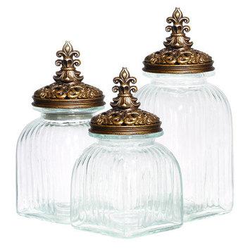 EcWorld Enterprises 7735994 Casa Cortes Rococo Revival Fleur De Lis 3-Piece Glass Canister Set - Black Lid