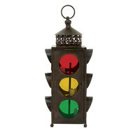 EcWorld Enterprises 7703202 Urban Designs Rustic Metal Traffic Light Lantern And Candle Holder