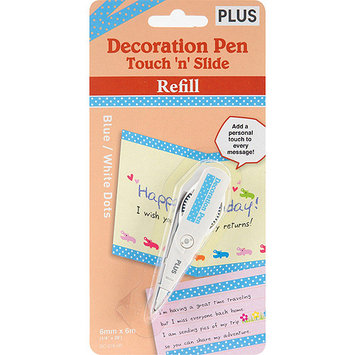 Plus Corporation NOM157146 Deco Pen Touch-N-Slide Refill, Blue/White Dots
