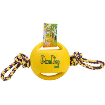 Innovation Pet DuraDogBall Interactive Grip Ball Large W/Tugger Rope-Yellow