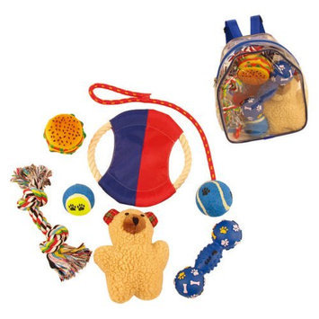 Pet Lift Pet Life 8-Piece Backpack Dog Toy Set