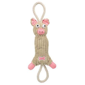 Pet Life Jute and Rope Plush Pig Dog Toy