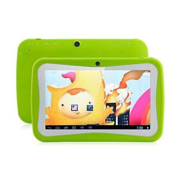 WorryFreeGadgets WFG-KIDS7-GREEN 7in Android 4.4 Dual Core Syst 4GB Dual Cam Wl Games