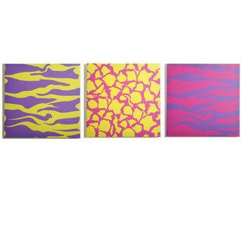 Modern Littles Color Pop Animal Party Canvas Print - Set of 3