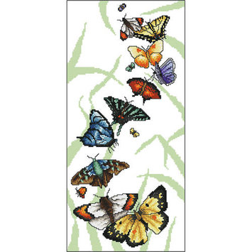 Vickery Collection Butterfly Parade Counted Cross Stitch Kit6.75inX14.25in 16 Count