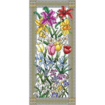 Vickery Collection Spring Flowers Counted Cross Stitch Kit8inX18.125in 16 Count