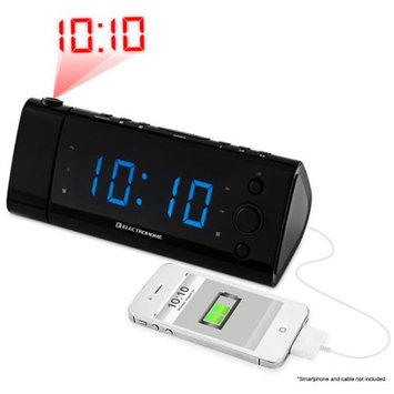 Electrohome USB Charging Alarm Clock Radio with Projection and Blue LEDs