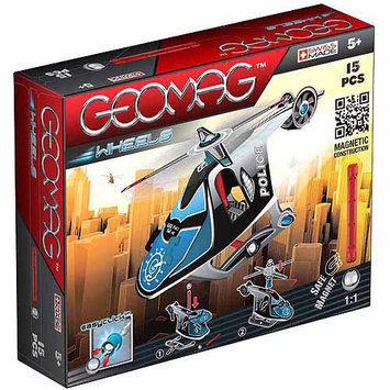 15 Piece Geomag Wheels Police Helicopter