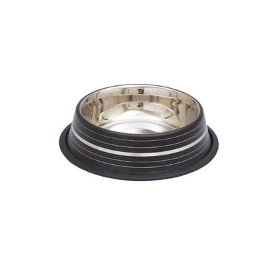 Indipets Inc Indipets Silver Stripe Dog Bowl 16 OZ Black