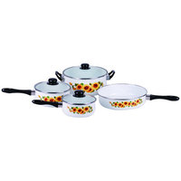 Gourmet Chef Traditional Sunflower Enamel 7 Piece Cookware Set