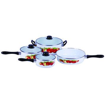 Gourmet Chef Traditional Fruit Design Enamel 7 Piece Cookware Set