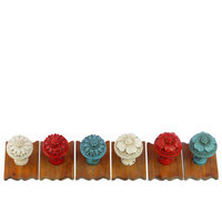 Urban Trends Resin/Wood Wall Hooks Assortment of Six Assorted Color (White x2, Red x2 and Sky Blue x2)