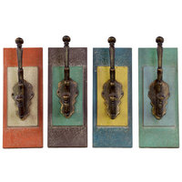 Urban Trends Metal Coat Hanger with Wood Wall Mount Assortment of Four Assorted Color (Red Orange, Mahogany, Steel Blue and Moss Green)