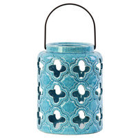 Urban Trends Ceramic Lantern, Gloss Turquoise