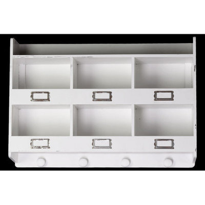 Urban Trends Wooden Wall Rack with 6 Shelves 6 Metal Card Holders and 4 Knobs White