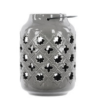 Urban Trends Ceramic Lantern with Metal Handle, Octagram and 4-Point Star Design Gloss Gray