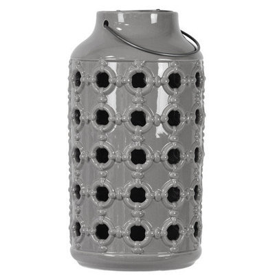 Urban Trends Ceramic Lantern with Metal Handle, and Porthole Design Gloss Gray