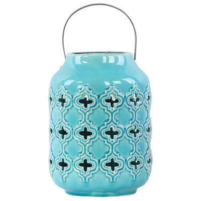 Urban Trends Ceramic Lantern, Blue