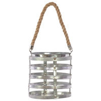 Urban Trends Metal Riveted Lantern with Rope Hanger SM Polished Silver
