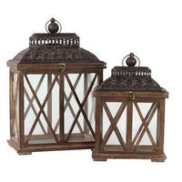 Urban Trends Collection 94618 Wooden Lantern Set of Two Rustic Antique Finish