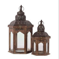 Urban Trends Collection 94619 Wooden Lantern Set of Two Rustic Antique Finish