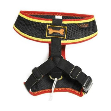 Gooby 04009-BLK-M Freedom Sport Harness Black and Red Medium Soft Synthetic Lambskin Strap
