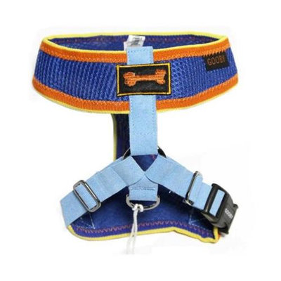 Gooby 04009-BLU-XL Freedom Sport Harness Blue and Yellow Extra Large Soft Synthetic Lambskin Strap