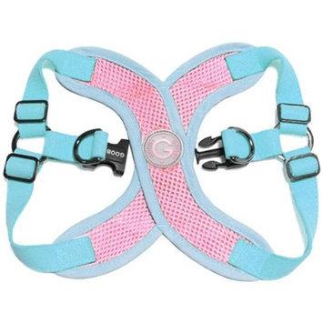 Gooby 04111-PNK-M Perfect Fit X Harness Pink and Aqua Medium Strap