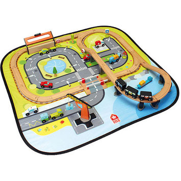 House of Toys The Great Big City Wooden Train Set & Play Mat