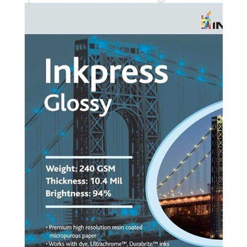 Inkpress Glossy, Single Sided Gloss Surface Inkjet Paper, 240gsm, 10.4 mil, 11x14