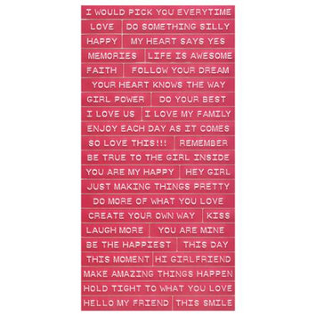 Cosmo Cricket COS68300 Tiny Text Stickers-Pink Punch